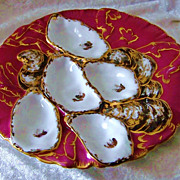 """SALE Gorgeous Haviland & Co. Pre-1890's """"Red Turkey"""" Decor 9"""" Oyster Plate Made"""