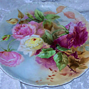 "SOLD Gorgeous Haviland France 1900's Hand Painted Vibrant ""Red, Pink, & Yellow Roses"""