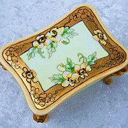 "SOLD Gorgeous Limoges 1915 Hand Painted ""Yellow Pansy"" Footed Dresser Box by Listed"