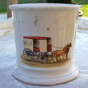 """Vintage T & V Limoges France 1900's Hand Painted """"Milk Wagon"""" Occupational Shaving M"""
