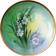 """Beautiful H & Co. Bavaria 1912 Hand Painted """"White Water Lily"""" 9"""" Plate by the"""
