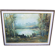 "Large & Impressive 1950-60's ""Summer Day On The Lake"" 41"" x 32"" Framed & M"