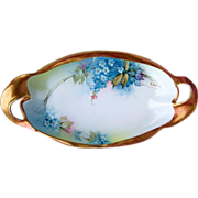 """Gorgeous Ginori Italy 1900's Hand Painted Fancy Scalloped """"Forget Me Not"""" 11"""" T"""