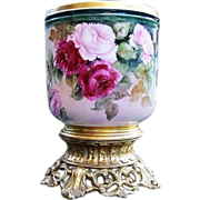 """SALE Outstanding William Guerin Limoges France 1900's Hand Painted Vibrant """"Red & Pink Ro"""