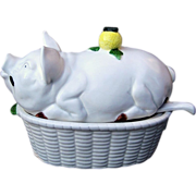 SOLD Outstanding  & Collectible 3-Pc. Pig Tureen & Ladle For Gravy