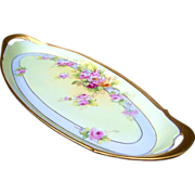 "Monsterous Large T & V Limoges France 1914 Hand Painted ""Pink & Yellow Roses"" 17-1/8"