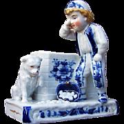 "Outstanding German 1900's Hand Decorated ""Boy, Dog, & Basket of Eggs"" Flow Blue Figu"