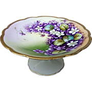 "Gorgeous Vienna Austria 1920's Hand Painted ""Violets"" Pedestal Tazza by the Listed C"
