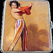 """SALE Exquisite Birmingham 1932 HM Silver """"Revealing Risque Lady"""" Pictorial Cigarette"""