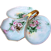 "SOLD Outstanding MZ Austria 1900's Hand Painted ""Pink Roses"" 3-Sectional 12-1/2"""