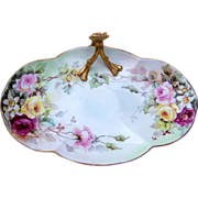 """William Guerin Limoges France 1900's Hand Painted """"Red, Pink, & Yellow Roses"""" 10-3/4"""