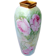 "SOLD Attractive Vintage Austria 1900's Hand Painted ""Large Pink Roses"" 4-Sided Vase"