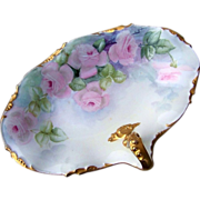 "J.P.L. France Limoges 1900's Hand Painted ""Soft Pink Roses"" 10-1/8 ..."