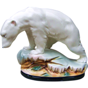 "SALE Outstanding German Sitzendorf 1880-90's ""Polar Bear"" 10-1/2"" Figurine"