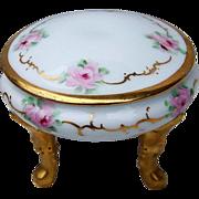 "Beautiful Bavaria Royal Bayreuth 1900's Hand Painted ""Pink Roses"" Footed Dresser Box"