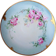 """Gorgeous T & V Limoges France 1900's Hand Painted """"Pink Roses"""" 12-1/2 ..."""