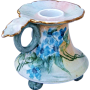 "Beautiful Vienna Austria 1907 Hand Painted ""Violets"" Fancy 3-Footed Chamberstick Hol"