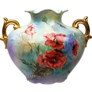 "Beautiful J.P.L. France Limoges 1900's Hand Painted ""Burnt Orange Poppy"" 6-7 ..."