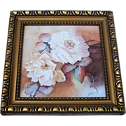 """Gorgeous Mettlach 1900's Hand Painted """"White Roses"""" 8"""" x 8"""" Plaque Tile, b"""