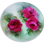 """Gorgeous Vintage Bavaria 1900's Hand Painted Vibrant """"Deep Red Roses"""" 8-1/2"""" Pl"""