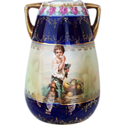"SOLD Gorgeous & Scarce RS Prussia 1900's ""Melon Eater"" Cobalt Blue Portrait Vase"