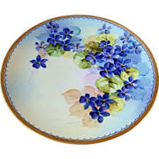 "Outstanding Sevres Bavaria Early 1900's Hand Painted Vibrant ""Violets"" 8-3/4"" P"