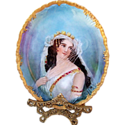 "SOLD Jean Pouyat Limoges France 1900 Hand Painted Portrait ""Victorian Woman in Wedding Dr"