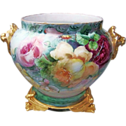 """Spectacular Vintage D & Co. France Limoges 1900's Hand Painted """"Red, Pink, & Yell"""