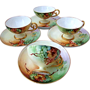 "Exceptional Bavaria 1915 Hand Painted ""Red Currant"" Set of 4 Demitasse Cups & Sa"