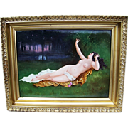 """SALE Museum Quality D & Co. France Limoges 1900's Hand Painted """"Reclining Nude On ..."""