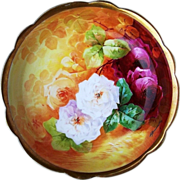 "SOLD Gorgeous Coronet Limoges France Hand Painted ""Red, White, & Burnt Orange Roses"""