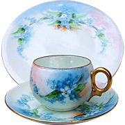"SOLD Beautiful Bavaria 1900's Hand-Painted ""Forget Me Not"" Matched Cup, Saucer, &amp"