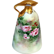 """SALE Gorgeous Limoges 1900's Hand Painted Vibrant """"Pink Roses"""" 7-1/4"""" Floral &"""