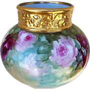 "SOLD Gorgeous J.P.L. France Limoges 1900's Hand Painted Vibrant ""Red, Pink, & Yellow Rose"