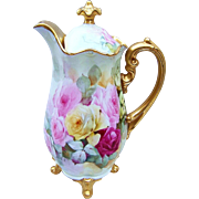 """SALE Spectacular Limoges France 1900's Hand Painted Vibrant """"Red, Pink, & Yellow Roses"""""""
