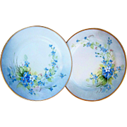 "SOLD Gorgeous Haviland France 1900's Hand Painted ""Forget Me Not"" Pair of Floral Pla"