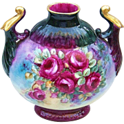 """SALE Master Decorated Limoges France 1900's Hand Painted Vibrant """"Deep Red Roses"""" 9"""""""