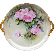 "SALE Gorgeous Hutschenreuther Selb Bavaria Hand Painted 1900's ""Pink Roses"" 13"""