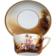 """SALE Gorgeous RS Prussia 1900's Scarce Scenic """"Mother & Two Daughters"""" Portrait Cup"""