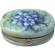 """SALE Gorgeous Limoges 1900's Hand Painted """"Violets"""" Trinket Casket Box by the Artist"""