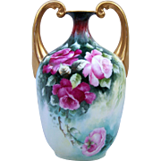 """SALE Gorgeous Limoges France 1907 Hand Painted """"Red & Pink Roses"""" 8"""" Muscle Vas"""