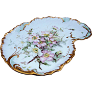"SALE Beautiful William Guerin Limoges France 1900's Hand Painted ""Light Pink & White Popp"