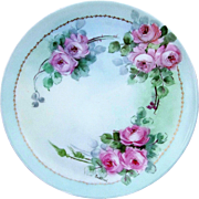 "SALE Gorgeous Sevres Bavaria 1900's Hand Painted ""Pink Roses"" 9"" Floral Plate b"
