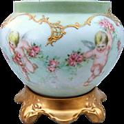 "SALE Fabulous D & Co France Limoges 1895 Hand Painted ""4 Cherubs & Roses"" Scenic Jar"