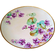 """SALE Attractive Ginori Italy 1900's Hand Painted """"Violets"""" 9-1/4"""" Floral Plate"""