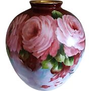 "SALE Beautiful Bavaria 1900's Hand Painted ""Deep Pink Roses"" 6-1/4"" Floral Vase"