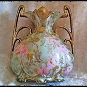 "SALE Scarce RS Prussia 1900's ""Washington DC"" Advertising & Pink & Yellow Roses Irid"