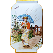 """SALE Superb France Pre-1900 Hand Painted """"Lady Strolling in An April Shower"""" 9-1/8"""""""