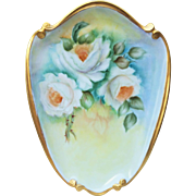 "SALE Gorgeous Bavaria 1960's Hand Painted ""White Roses"" 10-1/2"" Floral Plaque b"