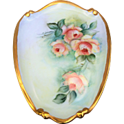 "SALE Beautiful Bavaria 1960's Hand Painted ""Peach Roses"" 8-1/2"" Floral Plaque b"